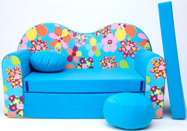 Childrens sofa bed type W, Fold Out Sofa Foam Bed for children + free pillow and pouffe - WB13 - Flowers