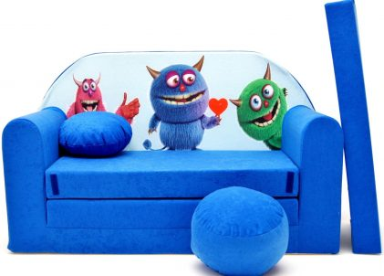Childrens sofa bed type W and free pillow and pouffe WC28