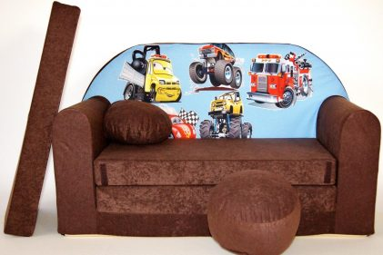 Childrens sofa bed type W and free pillow and pouffe